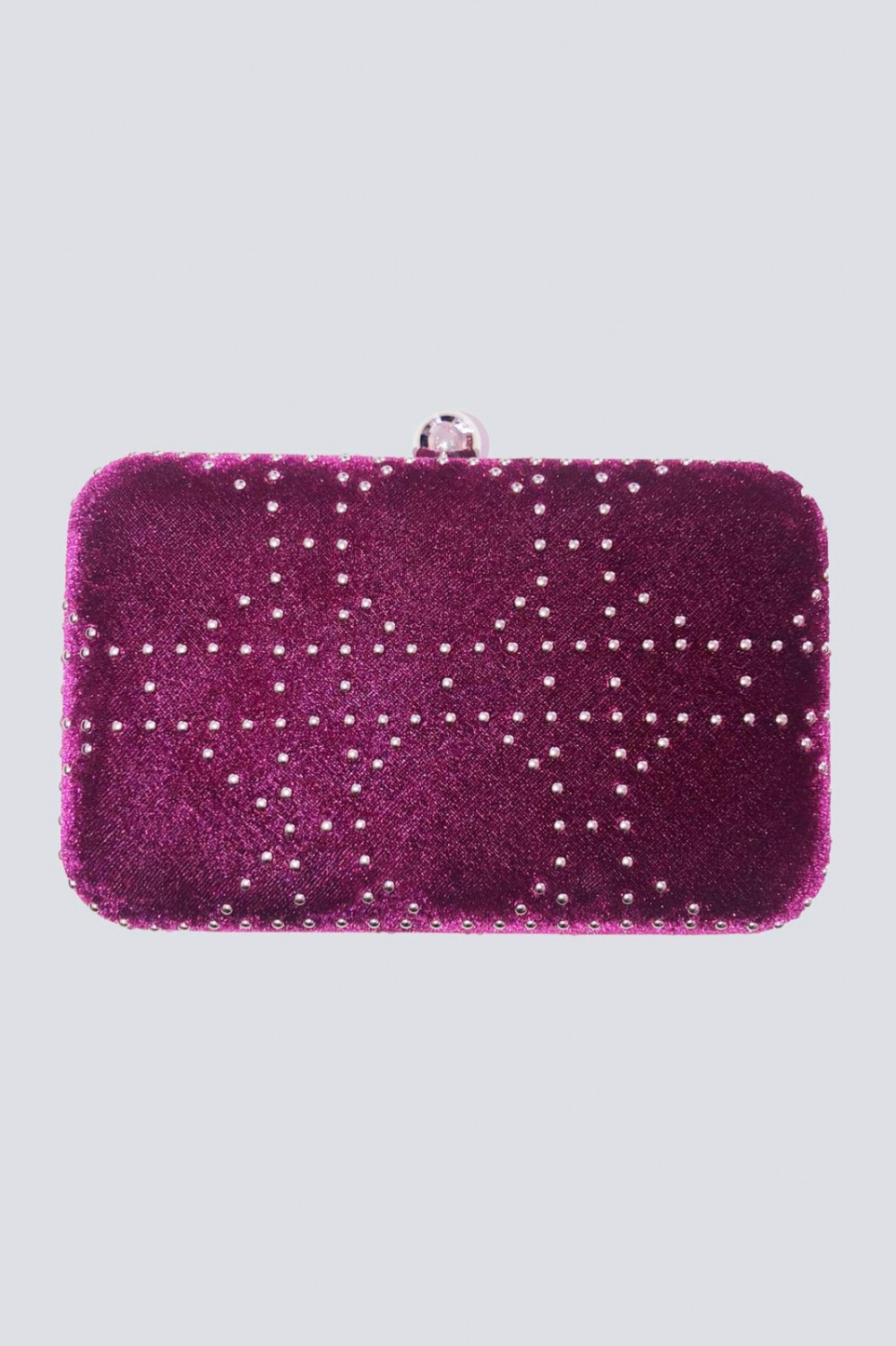 Clutch bordeaux con borchie