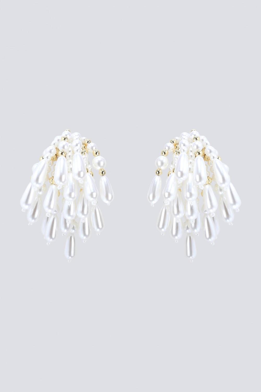 Orecchini in ottone placcato oro, con cascata di perle in resina