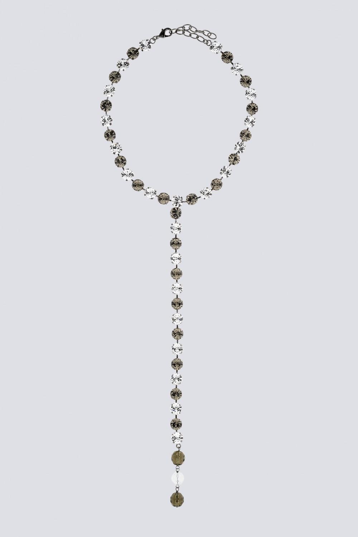 Collana pendente in strass e metallo
