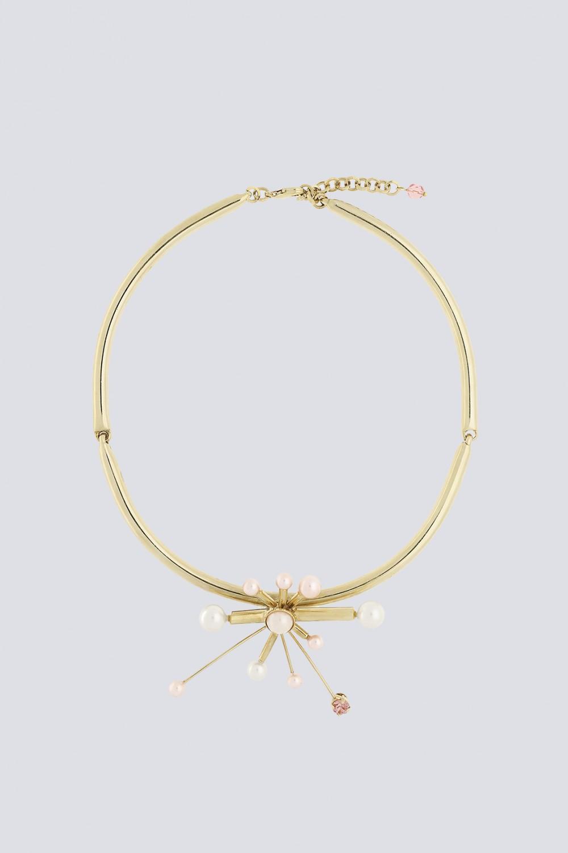 Collana in metallo, swarovski e perle in resina