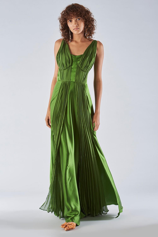 Abito lungo verde con rouches