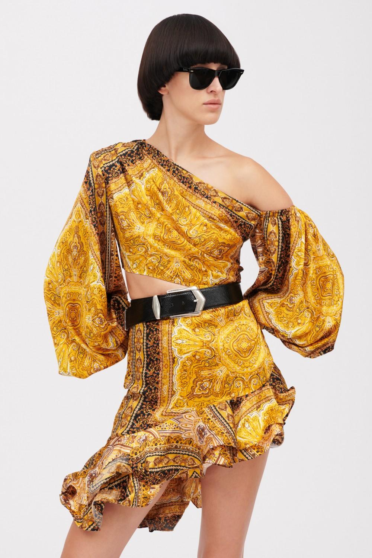 Mini abito giallo con stampa beduina