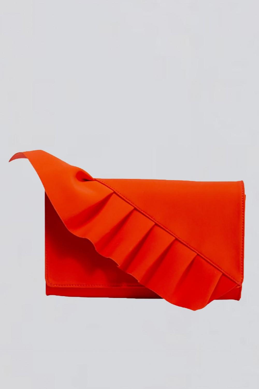 Clutch rossa con volant