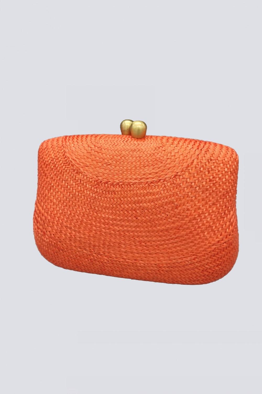 Clutch arancione con manico in plastica