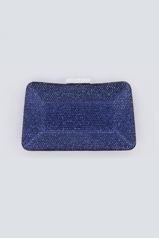 Clutch curva blu con strass