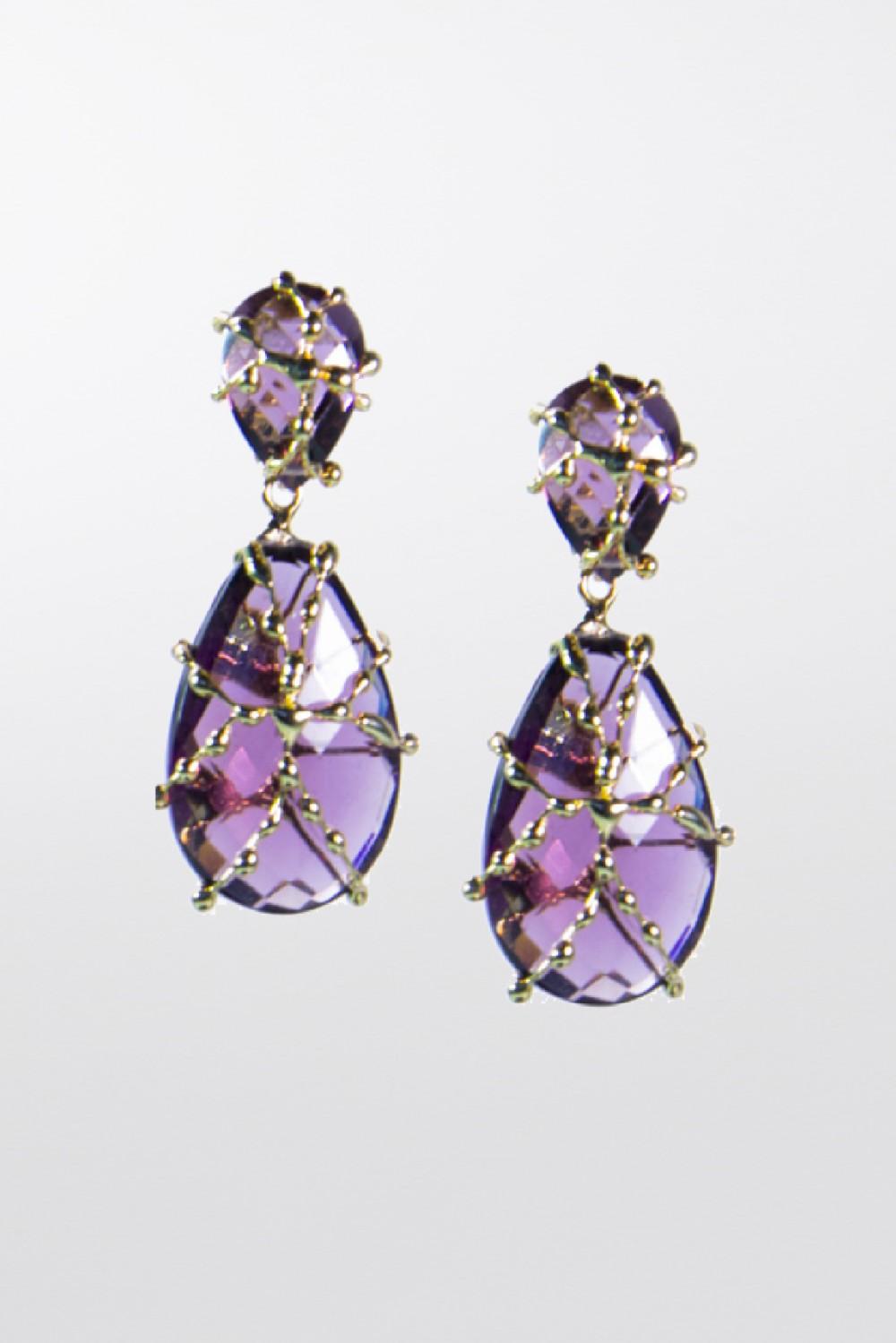 Orecchini con cristallo viola
