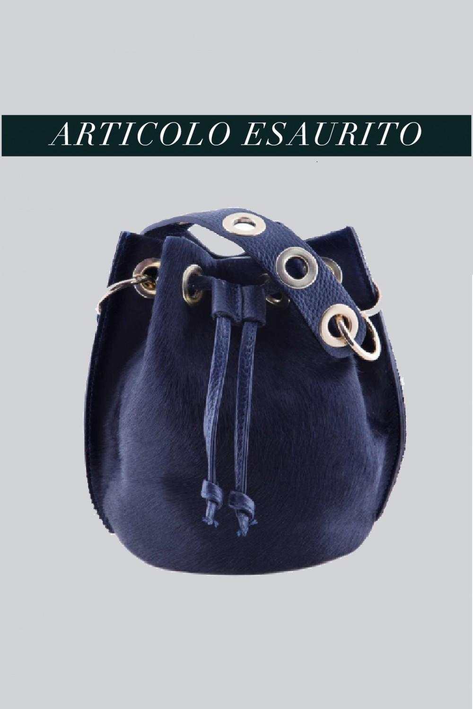 Mini secchiello in cavallino blu