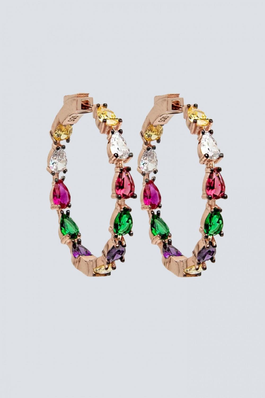 Orecchini a cerchio con pietra multicolore