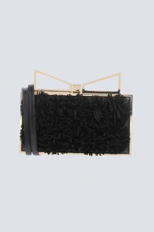 Clutch nera con pompon in stoffa
