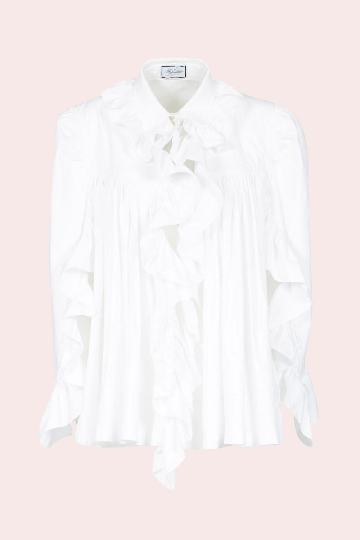 Camicia in cotone con rouches