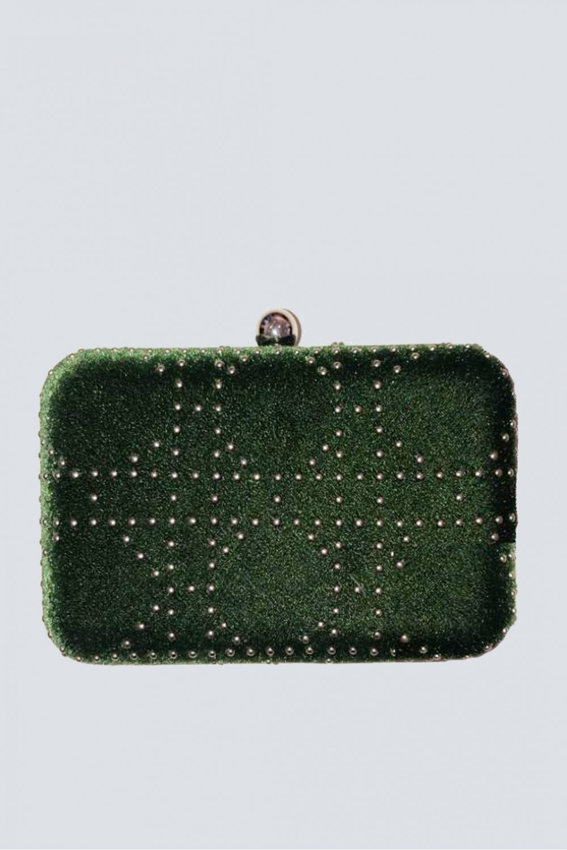 Clutch verde con borchie