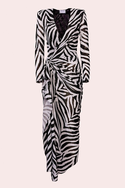 Abito lungo stampa zebra