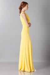 Drexcode - Abito giallo monospalla con strascico anteriore - Vionnet - Vendita - 5