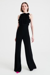 Drexcode - Jumpsuit nera in crepes con rouches - Kathy Heyndels - Noleggio - 4