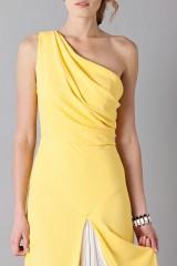 Drexcode - Abito giallo monospalla con strascico anteriore - Vionnet - Vendita - 6
