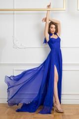 Drexcode - Abito blu bustier con spacco - Cristallini - Noleggio - 5