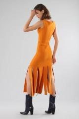 Drexcode - Abito arancione al ginocchio con frange - Chiara Boni - Vendita - 3