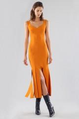 Drexcode - Abito arancione al ginocchio con frange - Chiara Boni - Vendita - 1
