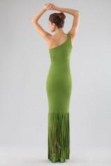 Drexcode - Abito verde monospalla con frange - Chiara Boni - Vendita - 2