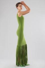 Drexcode - Abito verde monospalla con frange - Chiara Boni - Noleggio - 3