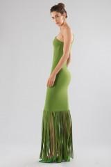 Drexcode - Abito verde monospalla con frange - Chiara Boni - Vendita - 5