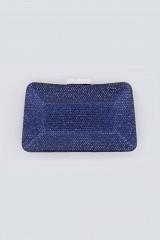 Drexcode - Clutch curva blu con strass - Anna Cecere - Noleggio - 1