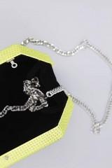 Drexcode - Clutch geometrica limone con strass - Anna Cecere - Noleggio - 3