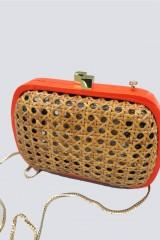 Drexcode - Clutch in vimini con bordo arancione - Serpui - Noleggio - 2
