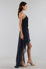 Drexcode - Abito blu asimmetrico in seta - Alberta Ferretti - Noleggio - 4