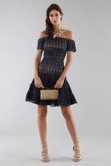 Drexcode - Abito corto in pizzo blu off-shoulder - ML - Monique Lhuillier - Vendita - 2