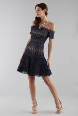 Drexcode - Abito corto in pizzo blu off-shoulder - ML - Monique Lhuillier - Vendita - 4