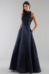 Drexcode - Abito blu con collo alto e scollatura a goccia posteriore - ML - Monique Lhuillier - Vendita - 4