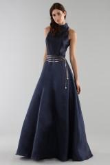 Drexcode - Abito blu con collo alto e scollatura a goccia posteriore - ML - Monique Lhuillier - Vendita - 5