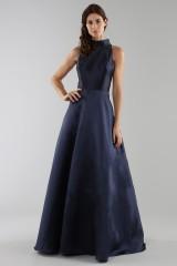 Drexcode - Abito blu con collo alto e scollatura a goccia posteriore - ML - Monique Lhuillier - Vendita - 1