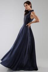 Drexcode - Abito blu con collo alto e scollatura a goccia posteriore - ML - Monique Lhuillier - Vendita - 2