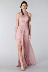 Drexcode - Abito rosa in seta con spacco e trasparenze - Cristallini - Noleggio - 1
