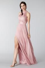 Drexcode - Abito rosa in seta con spacco e trasparenze - Cristallini - Noleggio - 4