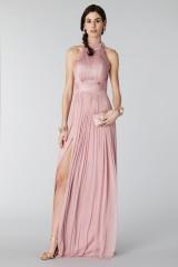 Drexcode - Abito rosa in seta con spacco e trasparenze - Cristallini - Noleggio - 6