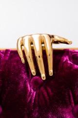 Drexcode - Clutch in velluto viola con chiusura mano - Benedetta Bruzziches  - Vendita - 2