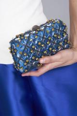 Drexcode - Clutch azzurra in seta con cristalli e catene - Rodo - Vendita - 2