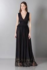 Drexcode - Vestito nero lungo con scollo a V - Alberta Ferretti - Noleggio - 1