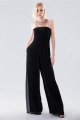 Drexcode - Jumpsuit nera bustier - Halston - Noleggio - 1