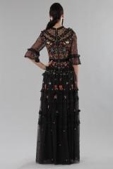 Drexcode - Abito lungo nero in tulle con decori floreali - Needle&Thread - Vendita - 4
