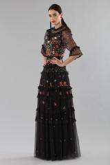 Drexcode - Abito lungo nero in tulle con decori floreali - Needle&Thread - Vendita - 3