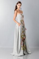 Drexcode - Bustier grigio in lana con applique a tema floreale - Alberta Ferretti - Vendita - 5