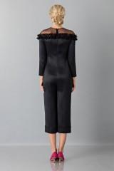 Drexcode - Jumpsuit nera longuette con pizzo off shoulder - Blumarine - Vendita - 3