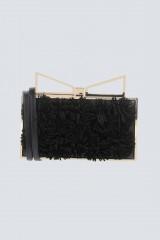 Drexcode - Clutch nera con pompon in stoffa - Sara Battaglia - Noleggio - 1