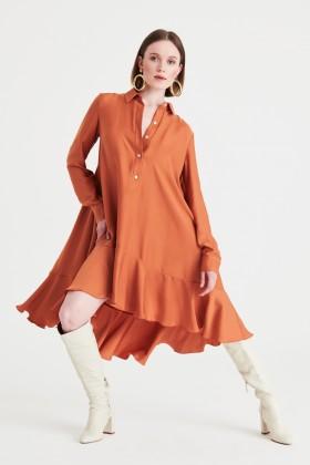 Abito camicia ruggine - Kathy Heyndels - Noleggio Drexcode - 2