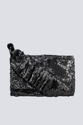 Clutch nera con volant - Chiara Boni - Noleggio Drexcode - 1