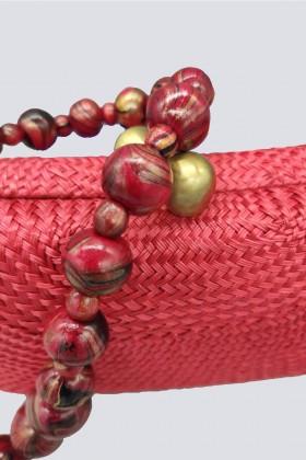 Clutch rossa in paglia - Serpui - Vendita Drexcode - 2